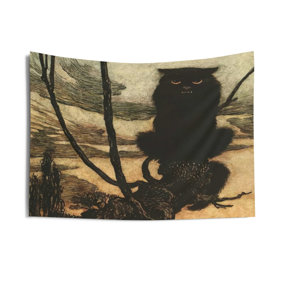 Arthur Rackham Halloween Indoor Wall Tapestry Black Cat 1920